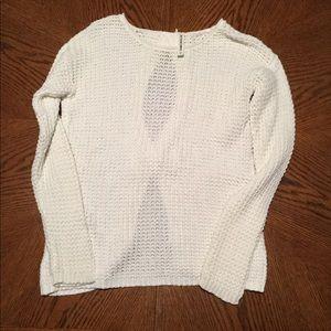 Bethany Moto Long Sleeve White Sweater